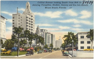 Collins Avenue looking south from 36th St. showing Versailles, Richter, Saxony, and Sea Isle Hotels, Miami Beach, Florida