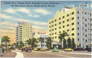 Collins Ave. looking north showing Coronet, Delmonico, and Martinique Hotels, Miami Beach, Florida
