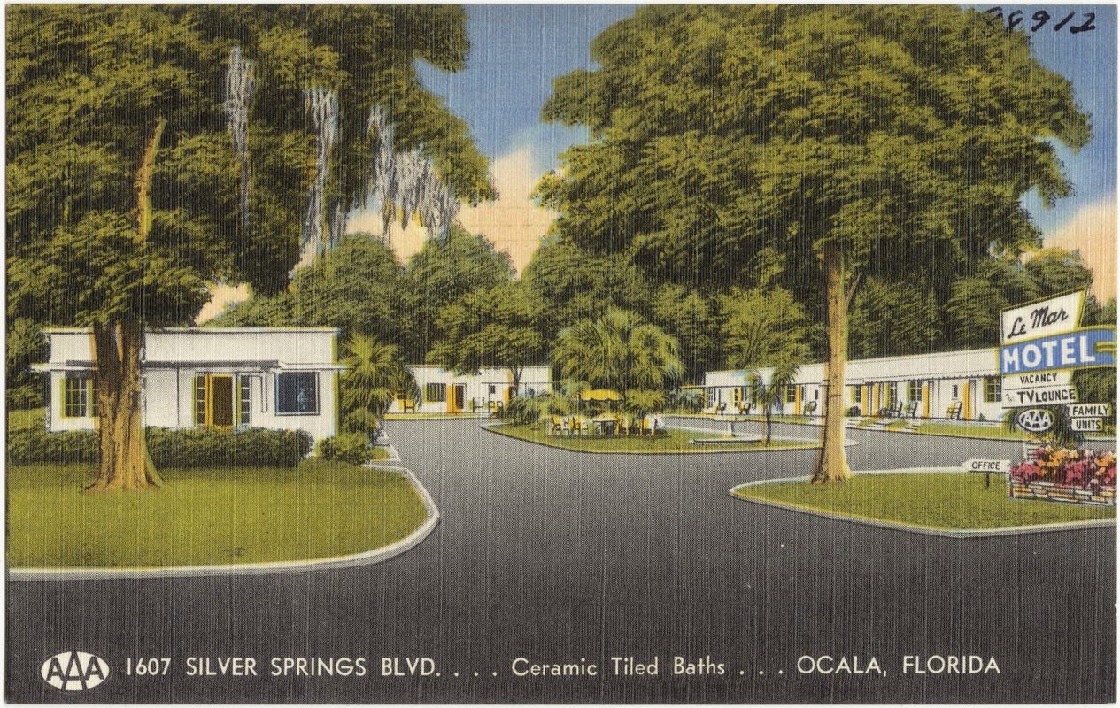 Le Mar Motel, 1607 Silver Springs Blvd, ceramic tiled baths, Ocala, Florida