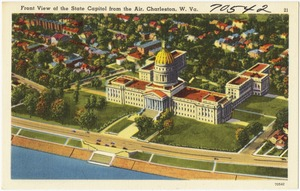 Front view of the State Capitol from the air, Charleston, W. Va.