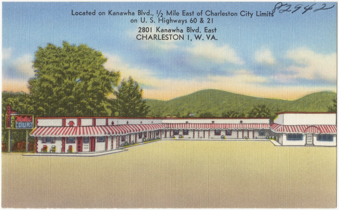 Ace Hotel and Restaurant. Located on Kanawha Blvd., 1/2 mile east of Charleston city limits on U.S. highways 60 & 21, 2801 Kanawha Blvd. east, Charleston 1, W. VA.