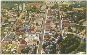 Air view of Business Section, Morgantown, W. Va.