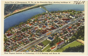 Aerial view of Montgomery, W. Va., on the Kanawha River showing building of West Virginia Institute of Technology, C & O Railway and Route 60