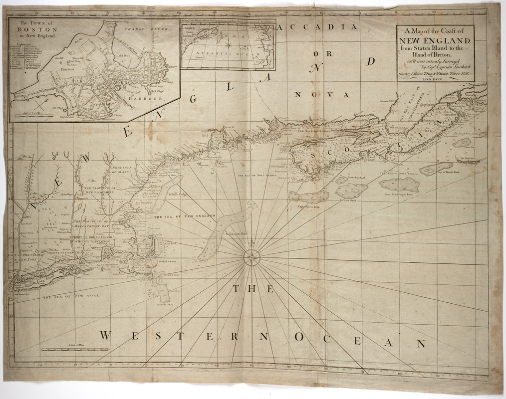 A map of the coast of New England from Staten Island to the island of Breton