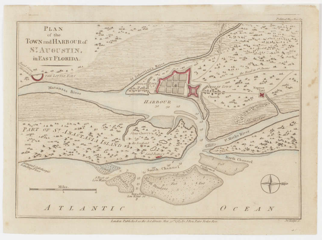 Map Of East Florida.Plan Of The Town And Harbour Of St Augustin In East Florida