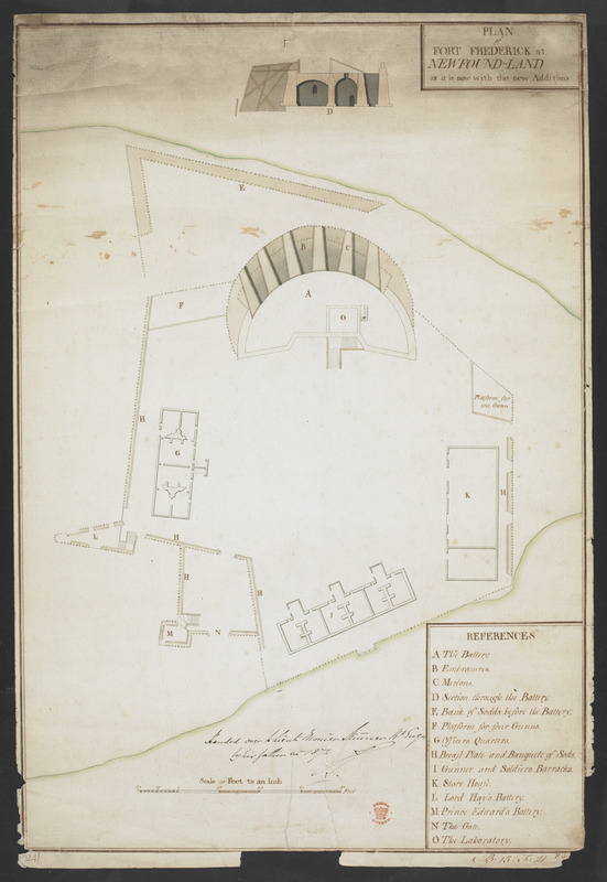 PLAN of FORT FREDERICK at NEWFOUND-LAND as it is now with the new Additions