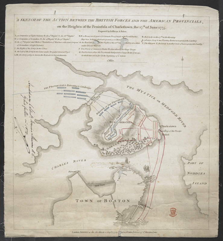 A SKETCH OF THE ACTION BETWEEN THE BRITISH FORCES AND THE AMERICAN PROVINCIALS, on the Heights of the Peninsula of Charlestown, the 17th June 1775