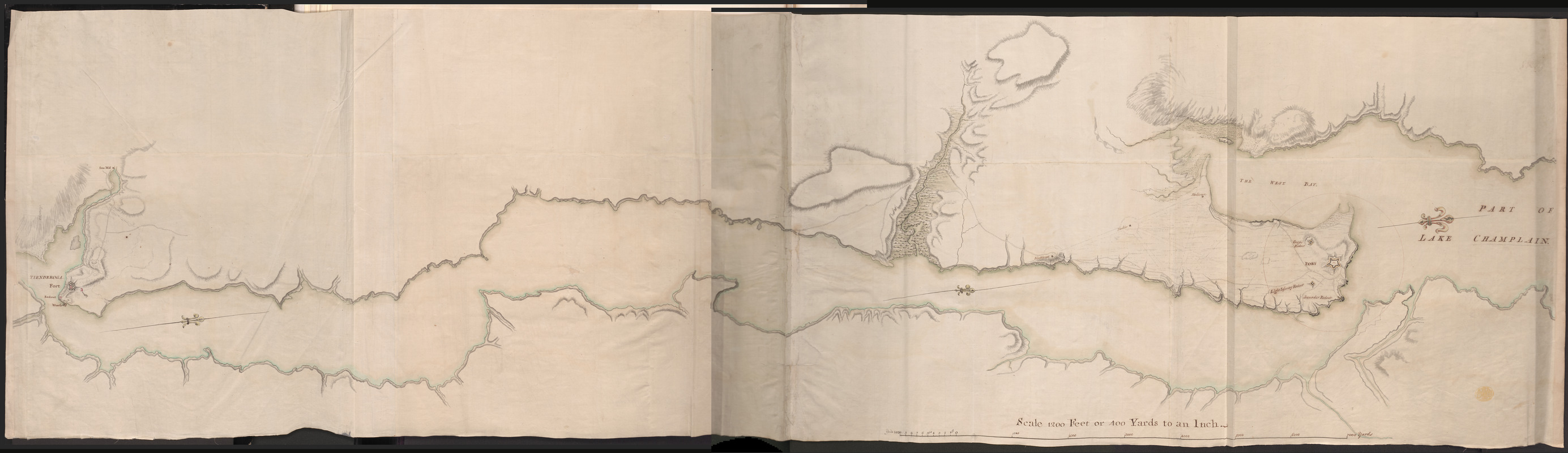 "[A map of the southern part of the Lake Champlain, from ""Tienderoga fort"" to Crown Point]"