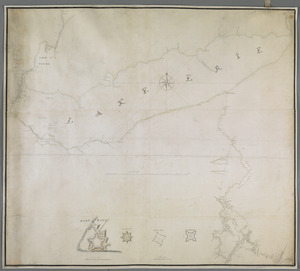 [A map of Lake Erie with the route southward from Fort Presqu'Isle to Fort Cumberland, with inset plans of Fort Pitt, Fort Venango, Fort Le Boeuf and Fort Presque Isle]