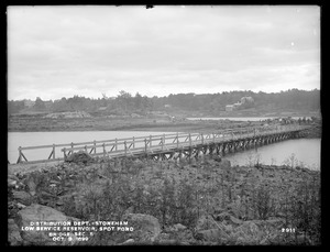 Distribution Department, Low Service Spot Pond Reservoir, bridge between west shore and Mud Island, Section 5, from the west, Stoneham, Mass., Oct. 3, 1899