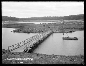 Distribution Department, Low Service Spot Pond Reservoir, bridge between Mud Island and Great Island, Section 5, from the east, Stoneham, Mass., Oct. 3, 1899