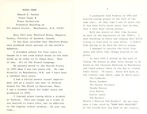 Notes from Edward E. Vachon, Perkins-Trained Piano Tuner and Piano Technician, (pg. 1 of 4)