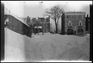 After the big snow storm, view from the front steps of 42 Highland Ave., Roxbury, looking towards the fire house on Centre St. Engine 14