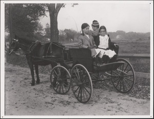 Mary, Ned and Kit sitting in horse-drawn carriage