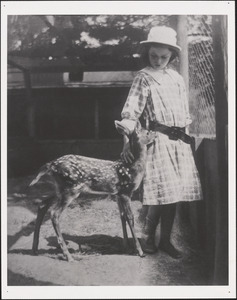 Kit Sears and the rescued fawn