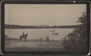 Heard Pond with horse and rider, boats and women walking