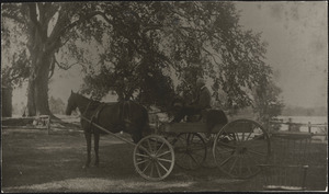 Abel Heard at home on horse and wagon near Heard Pond
