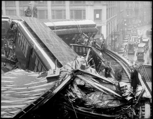 Boston Elevated train wreck at corner of Beach St. & Harrison Ave. Two killed.