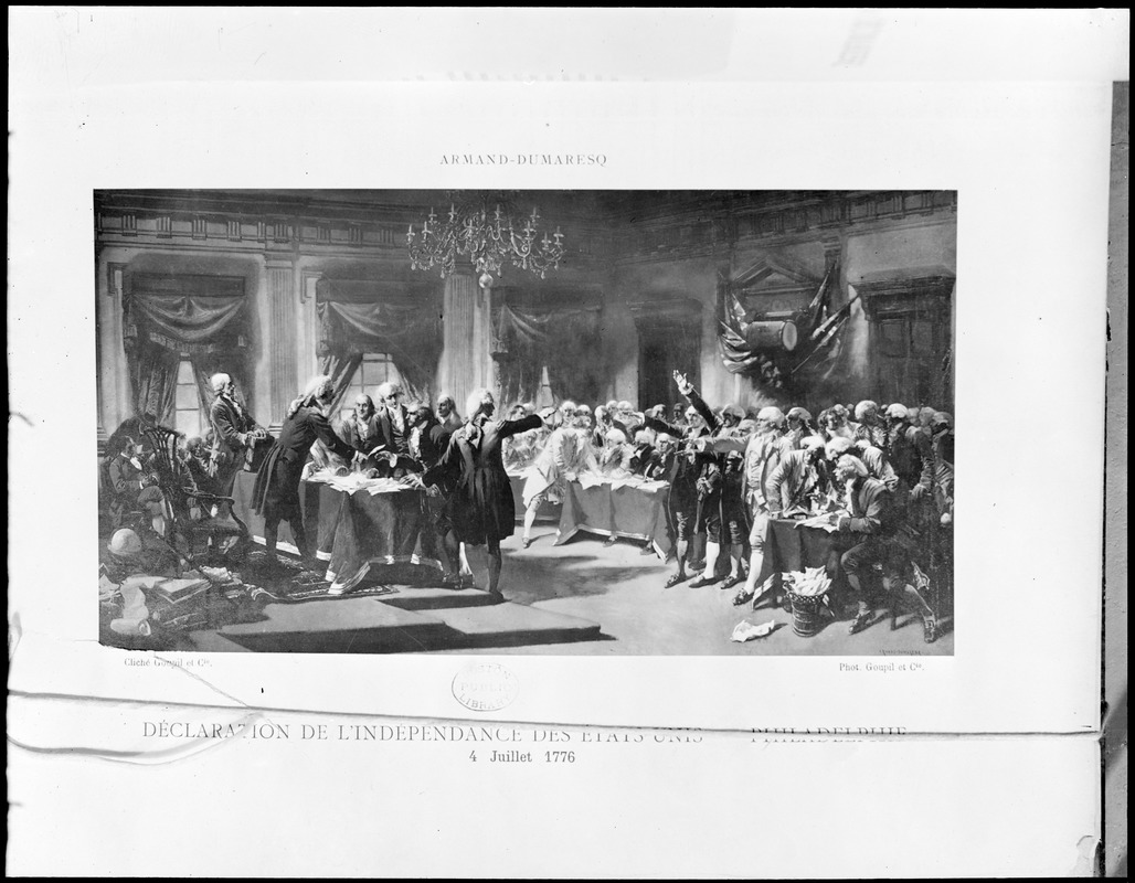 Print of Declaration of Independence in Boston Public Library