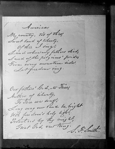"""Last and first verses of """"America"""" by Samuel Francis Smith."""