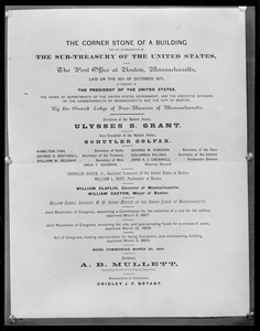 Document commemorating the laying of the cornerstone for the U.S. Post Office building in 1871