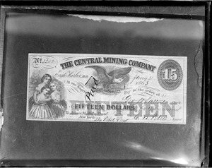 $15 note from the Central Mining Co.