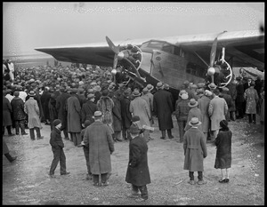 Ford plane lands at East Boston Airport, people (trimotor)