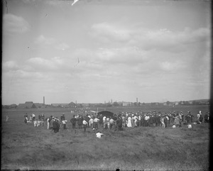 Bleriot monoplane surrounded by crowd, Lynn Marshes, Saugus