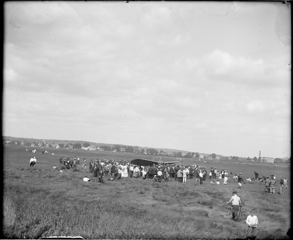 Bleriot monoplane down in Lynn Marshes, Saugus