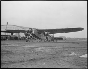 First passenger plane to run between Boston and New York, at East Boston Airport