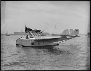 Airvia Transportation Company's Boston-New York plane in the waters of Boston Harbor