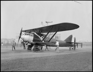 """French plane """"?"""" in front of administration building, East Boston Airport"""