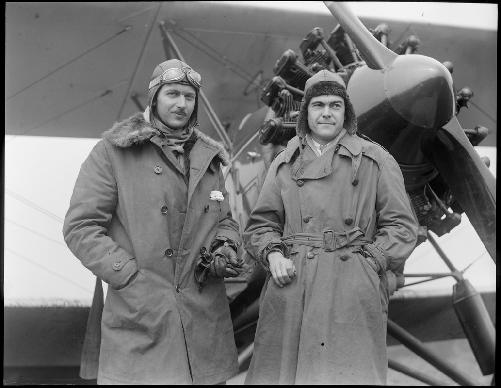 R-R: Robert Baker of Lafayette Escadrille and Lt. Crocker Snow of Lafayette Escadrille at East Boston airport