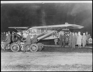 Chamberlin's plane Columbia the night of its take off for flight to Germany