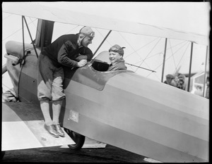 Chinese aviator Harry Dally King with Capt. Leyson at East Boston Airport