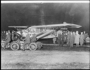 Chamberlin's plane Columbia ready to fly to Germany from New York non-stop.