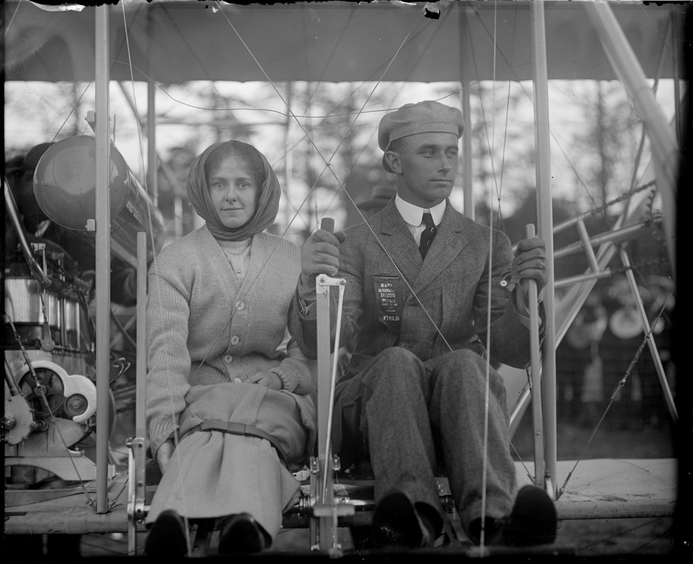 Famous aviator Atwood takes a passenger at Squantum