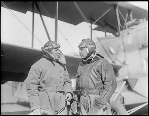 Lt. Ellwood R. Quesada, relief pilot from Bolling Field to go to Greenly Island, Labrador, to take over for Lt. Fairchild who was stricken with appendicitis, and Lt. Richard Cobb who took him.