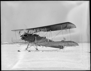 Curtiss' plane with skis at East Boston Airport