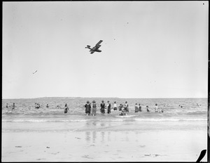 "Aeroplane over beach ""flying boat"" Revere Beach(?)"