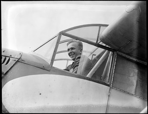 Clarence Chamberlin - Famous flier brings injured Ruth Nichols to Boston from New Brunswick who was strapped in a cot inside of plane. East Boston Airport.