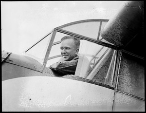 Clarence Chamberlin: Famous flier brings injured Ruth Nichols to Boston Airport from New Brunswick. She was strapped on a cot inside of plane.