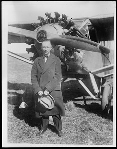 Chamberlin and  his plane that he flew from N.Y. to Germany