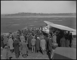 Charles A. Levine and plane Columbia lands at East Boston Airport