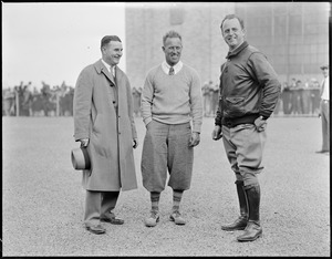 Frank Hawkes (center) at East Boston Airport