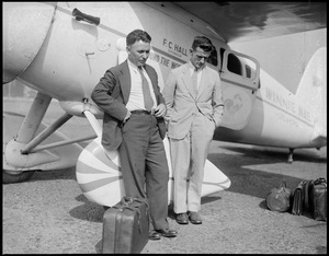 Wiley Post and Harold Gatty in Boston East Boston Airport. They are the round the fliers. Plane: Winnie Mae