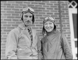 Mrs. Beryl Hart and Lt. W. S. MacLaren pilots of the Tradewind bound for Azores and Paris last