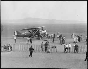"""The French Plane """"?"""" (insignia) East Boston Airport, 1930, with people"""
