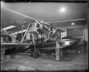 Bernt Balchen's plane about ready to leave East Boston Airport for Horse Island, Newfoundland