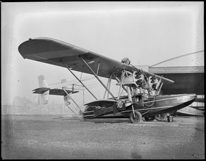Bernt Balchen's plane about to leave East Boston for Horse Island, Newfoundland, for site of Viking Disaster